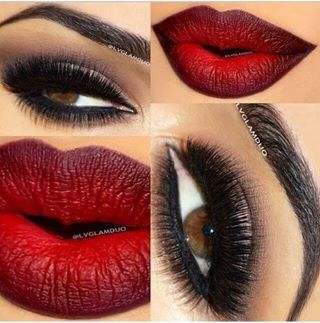 Brown smokey eye and Cranberry and red ombre lips
