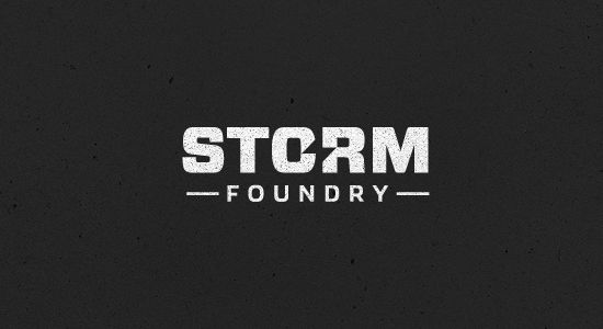 Storm Foundry    A great logo that uses a bold font and hides a lightning bolt in the middle of the logo. The noisy insides of the 'Storm' part of the logo are reminiscent of a thunder storm.