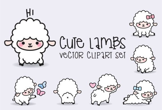 Premium Vector Clipart - Kawaii corderos - cordero lindo Set de imágenes prediseñadas - vectores de alta calidad - descarga inmediata - Kawaii Clipart - Kawaii ovejas
