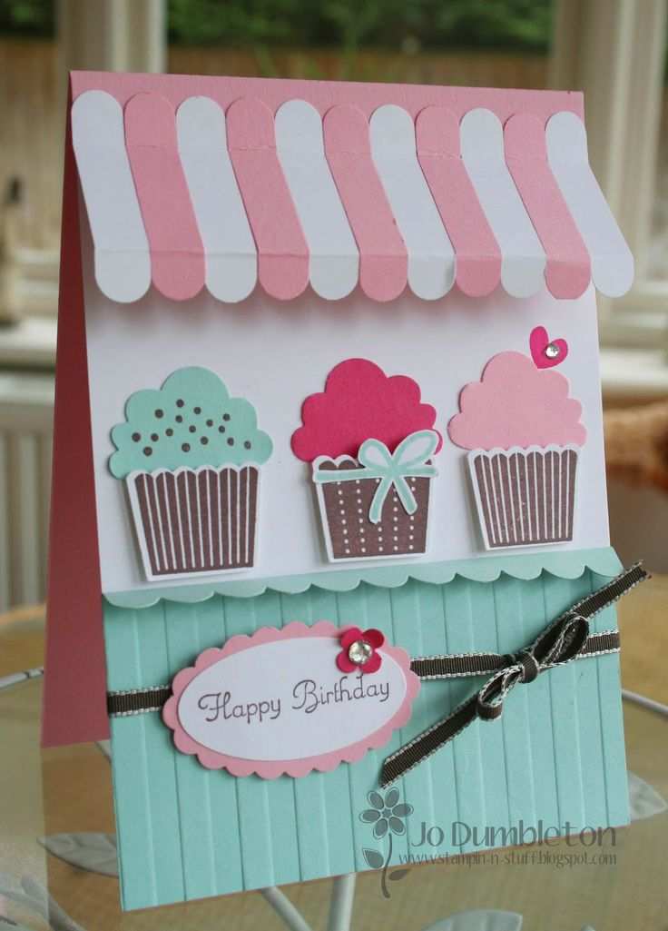 Awning card uses Create a Cupcake, Word Window and Scallop Border punches. I will also pin another site that has instructions as to how to make the awning.