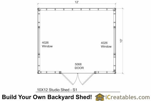 10x12 office shed floor plan
