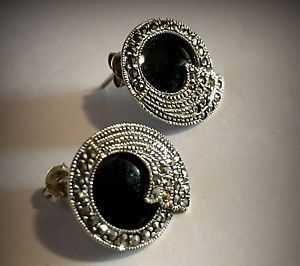 Black Onyx Plus Marcasite Stud Post Earrings Womens Jewelry Sterling Silver 925 | eBay