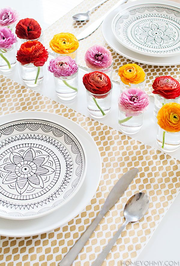 Spring Table with Ranunculus - Homey Oh My!
