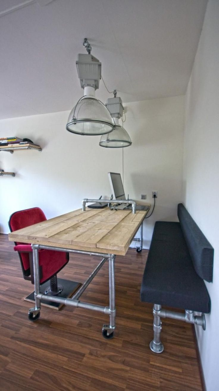 { Build } Rolling pipe desk and wall bench made with Kee Klamp pipe  fittings.