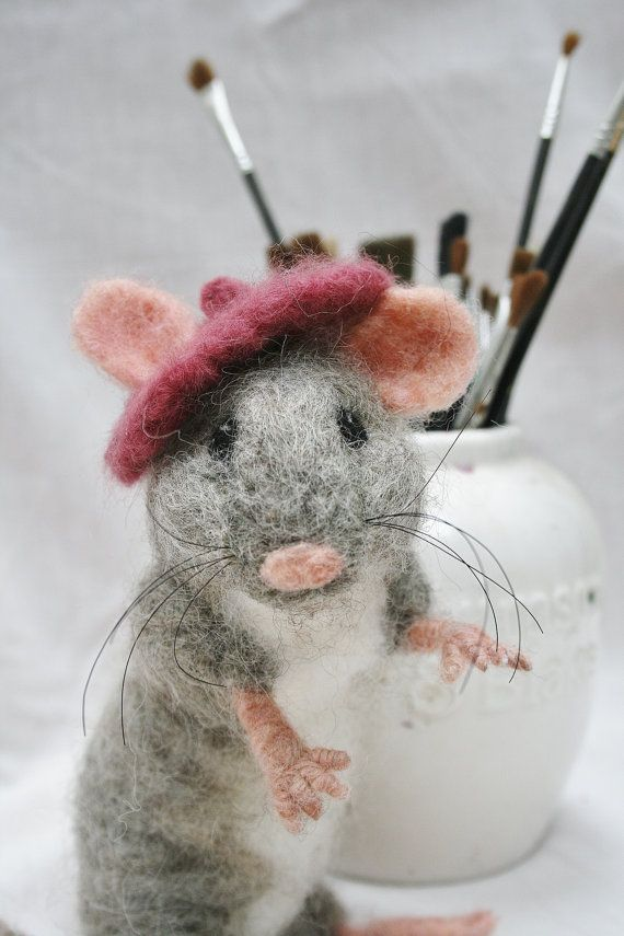 Needle Felted Mouse  Mouse Sculpture  Fiber Art  Artist