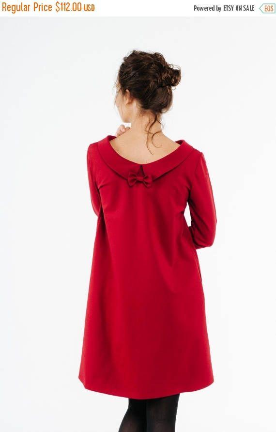 VENDITA altalena Vestito con colletto rosso Guest Abito