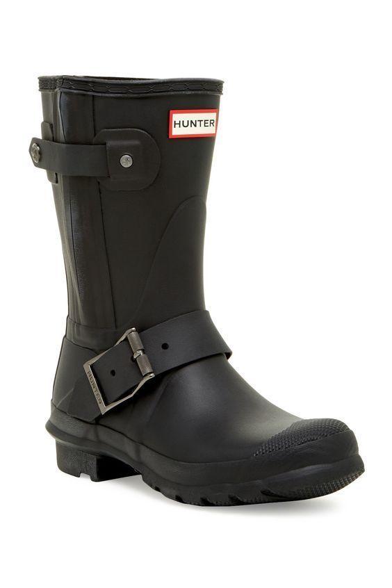 HUNTER Boots Original Women's New Rubber Zip Biker Boot Rain Black  Waterproof 8