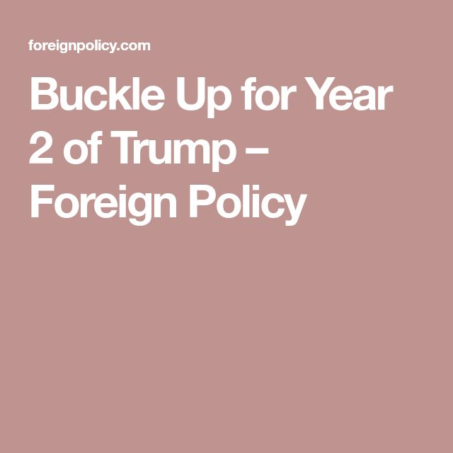 Buckle Up for Year 2 of Trump – Foreign Policy