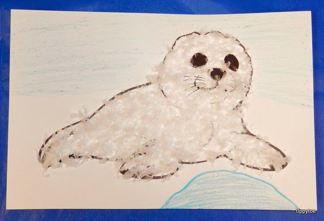 Tippytoe Crafts: Fluffy Seal Pups -- Great idea, but I would have the children draw their own seal pup.