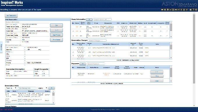 The reservation panel for iHMS Hotel Management Software