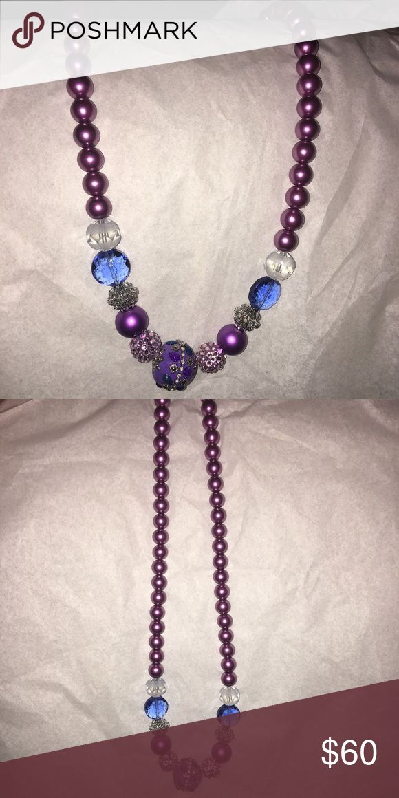 "Purple  & Silver Chunky Pearl Necklace NWOT Beautiful Opera length Chunky Pearl Necklace. This Necklace is Stretchy and measuring at 26"" long! A rare beauty ! new without tags Jewelry Necklaces"
