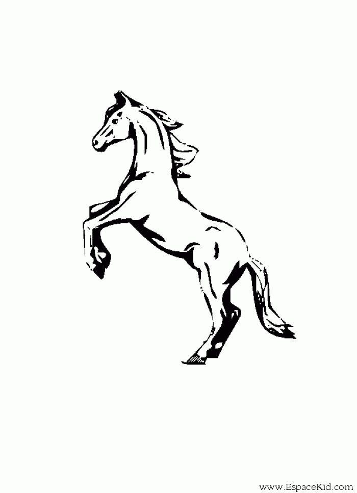 Coloriage cheval debout imprimer dans les coloriages - Dessin de cheval magnifique ...