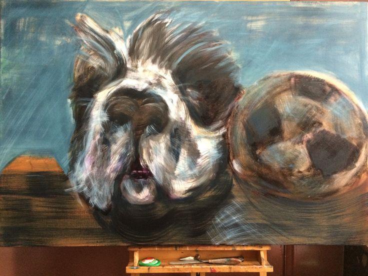 Oil painting on canvas, 'Papa en zijn bal'