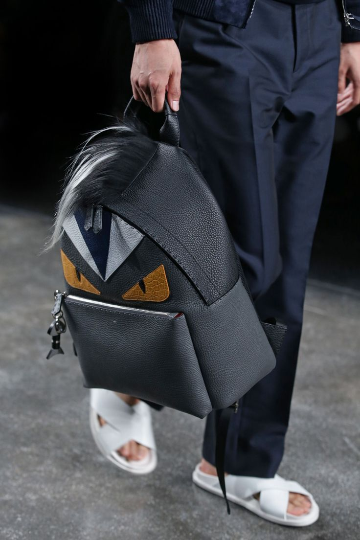 Fendi spring summer 2015 runway bag collection spotted fashion - Spring Summer 2015 Fendi Runway Monster Backpack With Fur Crest
