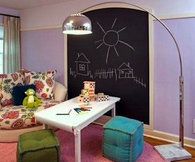 framed chalkboard on kids playroom wall