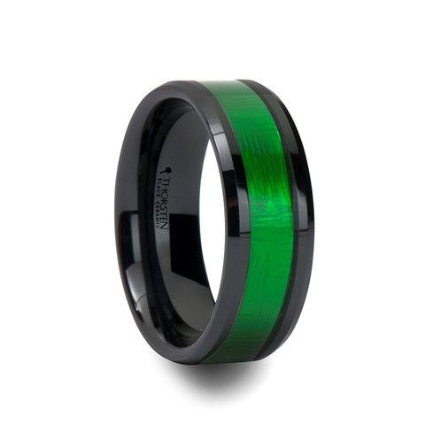 he LUMEN Black Ceramic Ring with Textured Green Inlay and Beveled Edges is offered in a width of 8 mm. The emerald green textured inlay is offset beautifully.