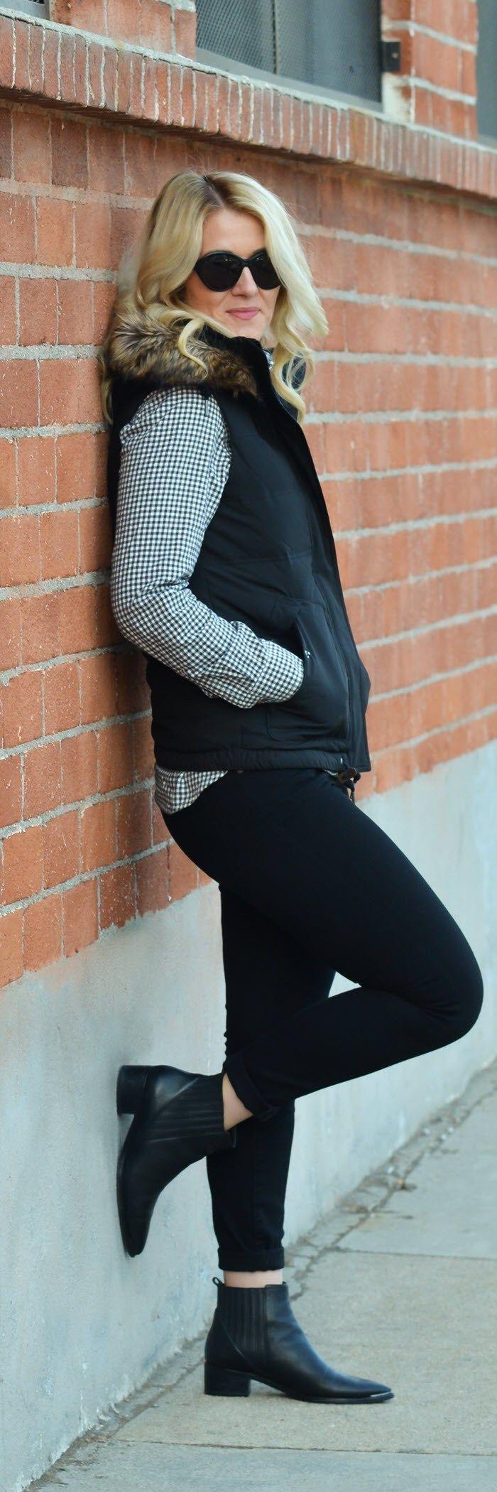 Fur Vest Outfit 2017 with Skinny Jeans #vest #fallfashion #furvest #fur #eddiebauer #currentelliott #marcfisher #booties #ankleboots #lablogger #fashionblog #fashionblogger #flannel #blackandwhite #fashionstyle #outfitideas #womensfashion #womenover30