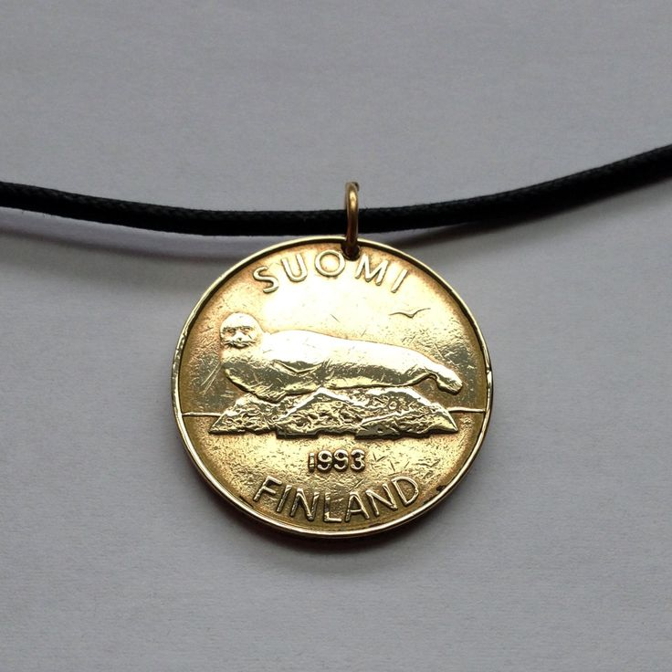 1993 Finland 5 Markkaa coin pendant charm necklace jewelry Lake Saimaa ringed seal dragonfly lily pad leaves Lake Saimaa Finnish No.000414 by acnyCOINJEWELRY on Etsy