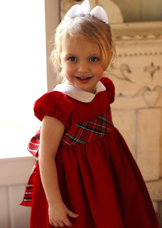 """Designer's Favorite: """"For little girls a silk plaid sash on red is perfection. I love elegant and charming dresses for little girls and this dress is definitely both. The Peter Pan collar is the whipped cream on top!"""" says Malley Gaulding of Malley & Co. www.malleyandco.com"""