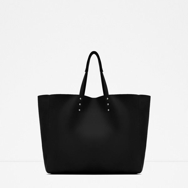 Zara Soft Tote (£16) ❤ liked on Polyvore featuring bags, handbags, tote bags, black, zara purse, tote hand bags, tote purses, zara tote bag and handbags totes