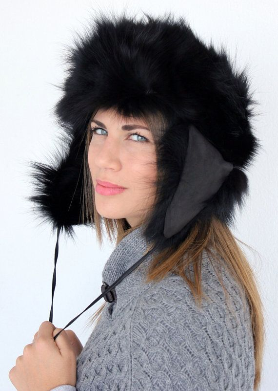 Black fur hat-trapper, Russian style, made with soft genuine fox fur