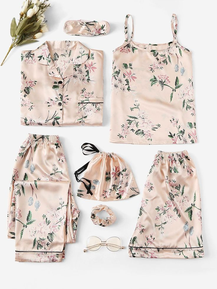 7pcs Floral Print Satin Cami PJ Set With Shirt -ROMWE