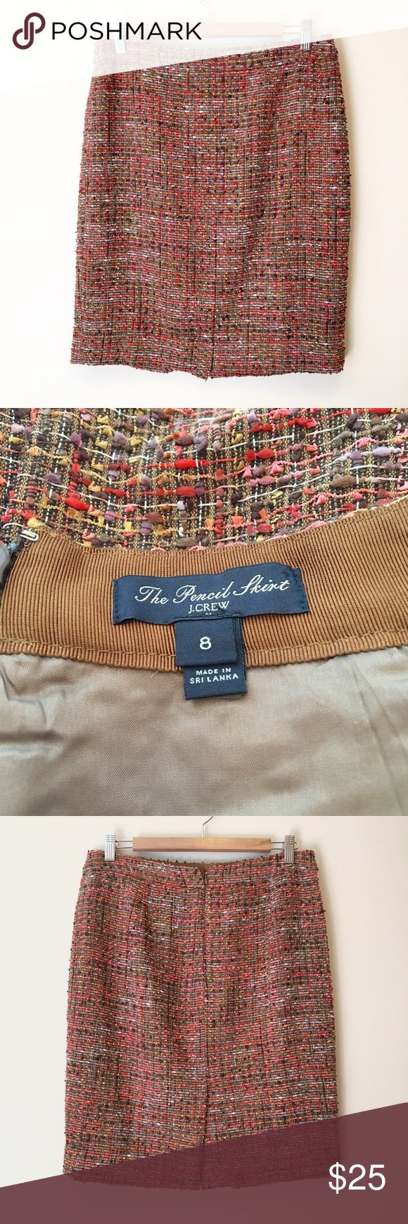 J. Crew Tweed Pencil Skirt Tweed pencil skirt by J. Crew.  Brown base with pink, purple, coral and yellow.  Very pretty and in great condition!  Size 8. J. Crew Skirts Pencil