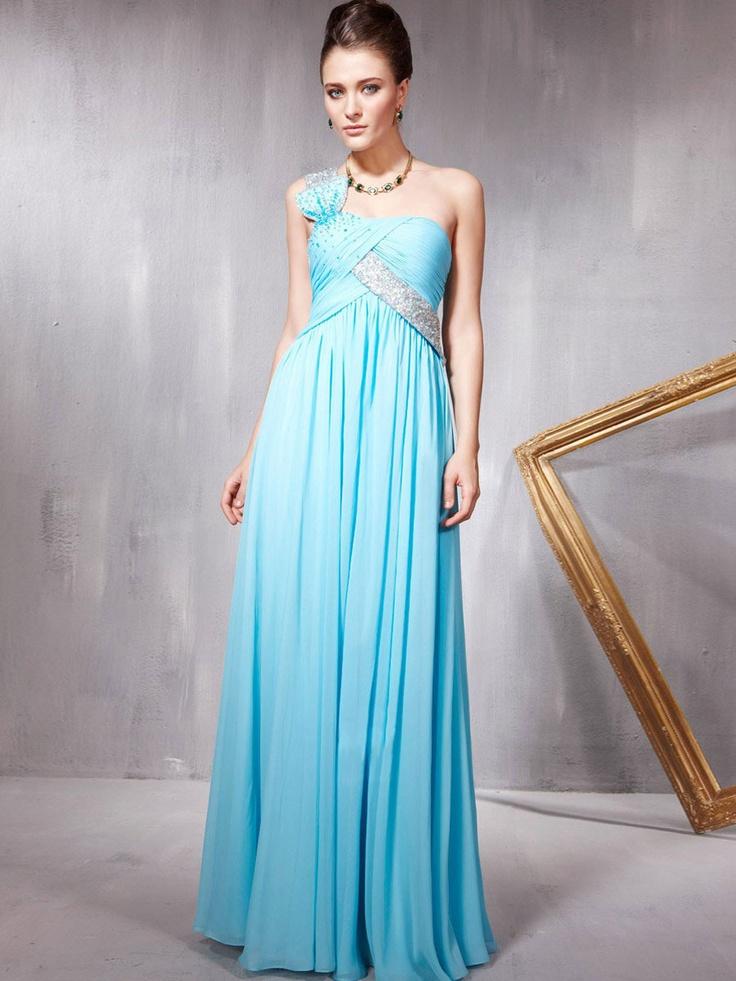 one-shoulder  light sky blue prom Dress