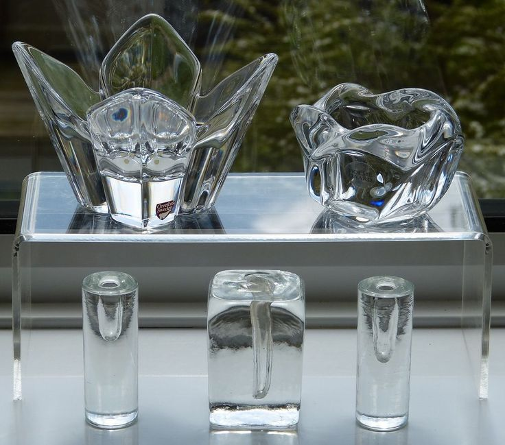Vintage SCANDINAVIAN Art GLASS Flower BOWLS Block VASES Orrefors HOLMEGAARD