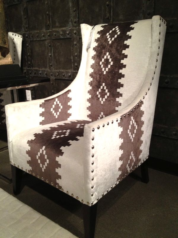 Wouldn't this tribal print accent chair look great in your living room? #LVMKT | Houston, TX | Gallery Furniture | #Westerndecor
