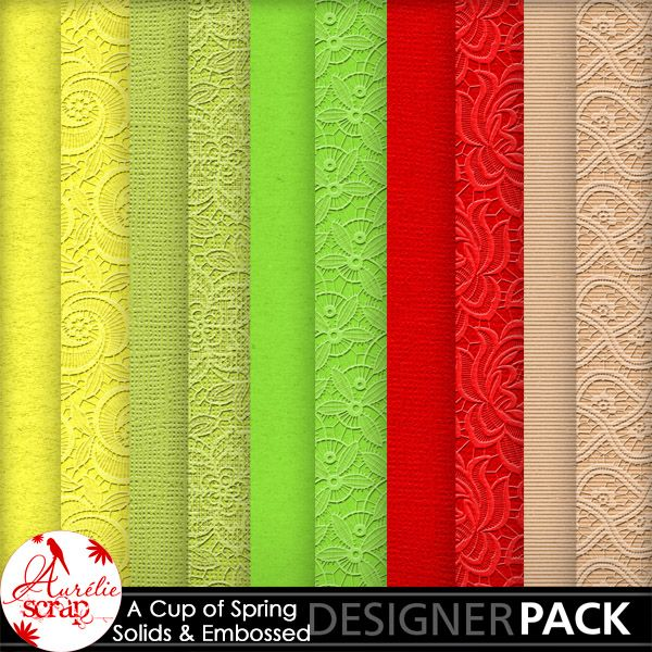 """Solids & Embossed Papers """"A Cup Of Spring"""" by Aurélie Scrap. Colors which bring up spring... It contains : 5 solids & 5 embossed papers"""
