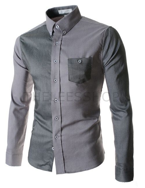 (AL537-GRAY) Mens Slim Stretchy 2 Tone Pocket Long Sleeve Shirts