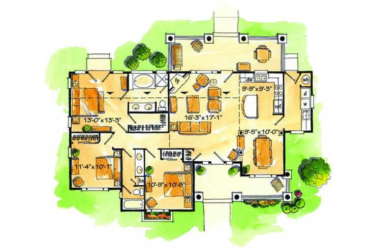Floor Plan AFLFPW76648 - 1 Story Home Design with 3 BRs and 2 Baths
