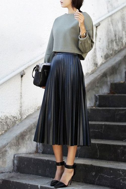 leather pleated midi skirt...'nuff said.