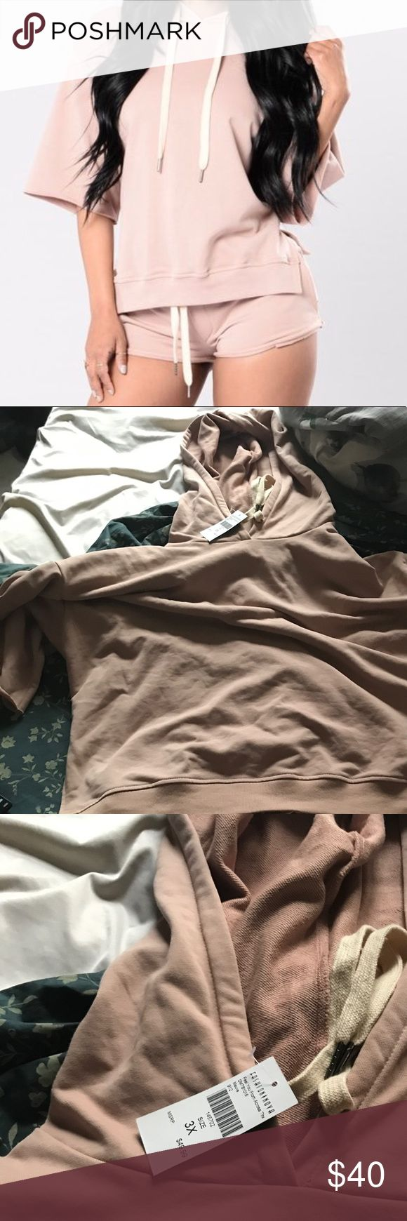 Nude Short set Very comfortable short set. Shorts are short. Size 3x fits like a size 18-20. Never worn. New with tags. From fashion Nova curve Tops Sweatshirts & Hoodies