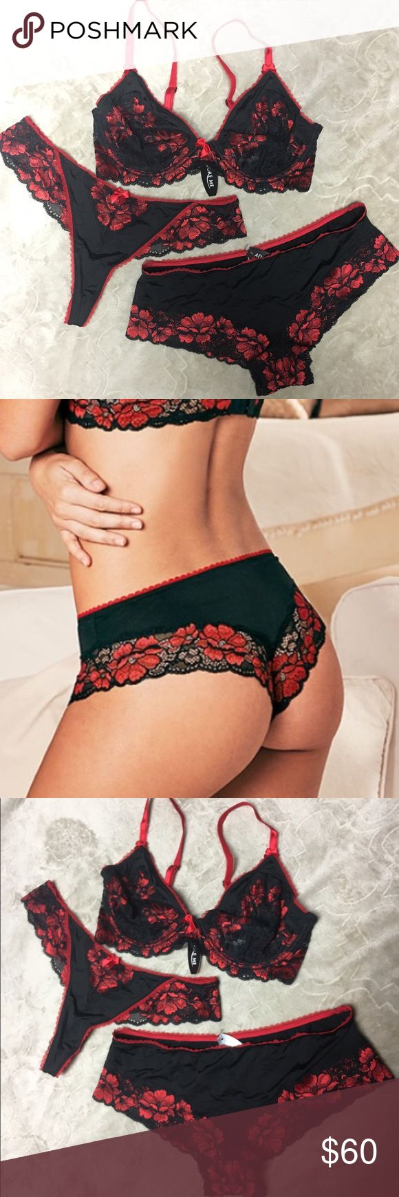 Sexy Lingerie set❤️Adore Me 34D/medium red/black ❤️Adore Me❤️ Brand New with tags Lingerie set! Black and red. Bra, panty and thong! Bra is a 34 D lined, underwire, and unpadded with lace embroidered. Thong and panty are both satin with lace trimmings. Gorgeous look and feels amazing. Adore Me Intimates & Sleepwear Bras