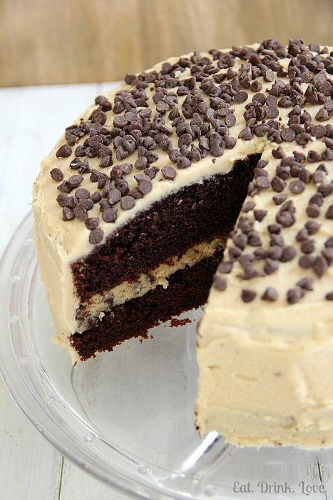 Chocolate Chip Cookie Dough Cake @Stephanie {Eat. Drink. Love.}