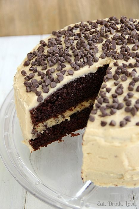 Chocolate Chip Cookie Dough Cake @Stephanie {Eat. Drink. Love.}
