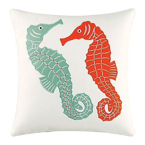 Fiesta Key Applique Seahorse Pillow