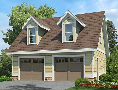 Plan 92081vs 2 car garage with dormers house plans for Garage with dormers