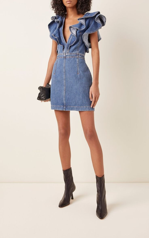 Denim On Denim The Timeless Trend Fashionactivation Denim Dress Outfit Denim Fashion Denim Mini Dress [ 1179 x 736 Pixel ]