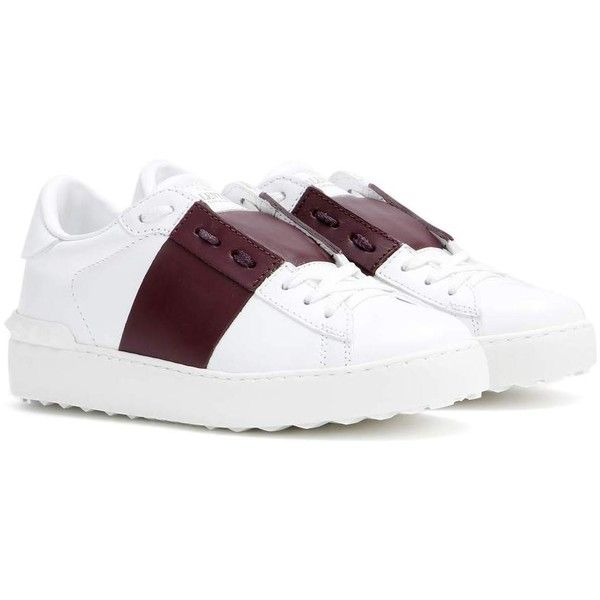 Valentino Open Leather Sneakers (896 005 LBP) ❤ liked on Polyvore featuring shoes, sneakers, white, leather footwear, white leather trainers, valentino shoes, leather shoes and white sneakers