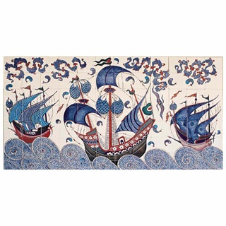 Iznik Foundation Quartz Tiles - galleon panel 2