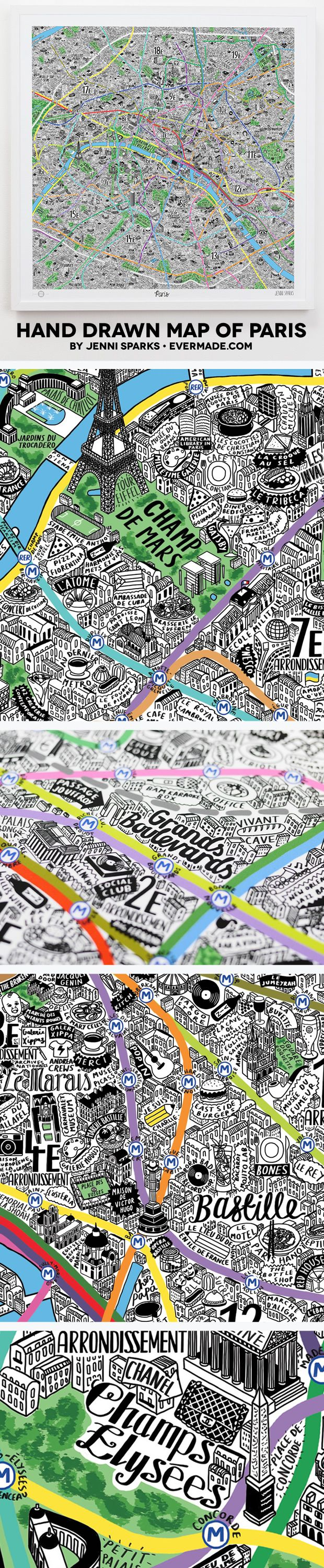 Hand Drawn Map of Paris from Evermade.com