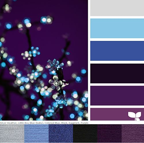 This would look so beautiful in the Interlocking Neat Ripple  pattern.  Vanna's Choice colors (in the order I would do the ripple, alternating dark/light, and beginning and ending with black):   Black, Silver Heather, Eggplant, Little Boy Blue, Purple, Colonial Blue.