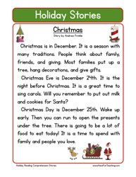 Second Grade Reading Comprehension Worksheet – Holiday Stories – Christmas