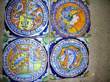 mattonelle dipinte a mano ceramica antica