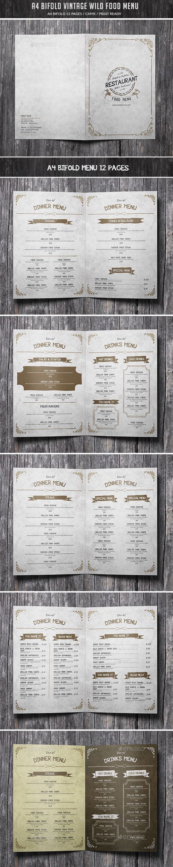 A4 Bifold Vintage Wild Food Menu — Photoshop PSD #restaurant menu #old • Available here → https://graphicriver.net/item/a4-bifold-vintage-wild-food-menu/15720896?ref=pxcr