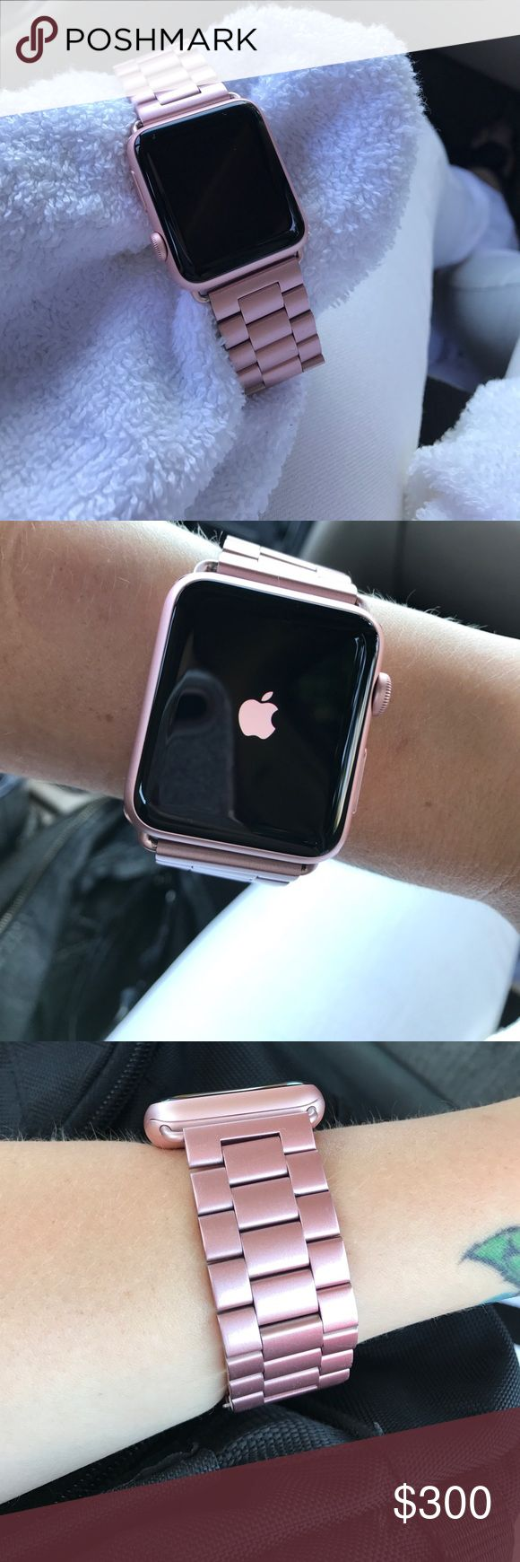 Rose Gold Apple Watch Series 2 42mm 42mm Series 2 Rose Gold Apple Watch with stainless steal wrist band. All rose gold. Band has minor scratches shown in last picture. Original Charger included.   (Extra accessories for an Additional price will be posted later) Apple Accessories Watches