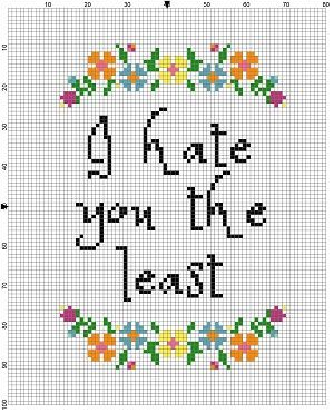 I Hate you the least - Funny Cross Stitch Pattern - Instant Download by SnarkyArtCompany on Etsy https://www.etsy.com/listing/450269908/i-hate-you-the-least-funny-cross-stitch